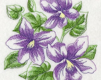 Sketched Violets Embroidered 100% Cotton Kitchen Hand Towel