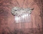 Bridal Hair Comb, Peacock Feather, Wedding Veil Alternative, Hair Ornament