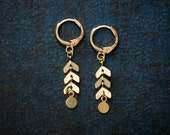 Petite Raw Brass Chevron Chain Earrings with Paddle Disc Charm