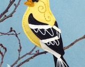 Goldfinch Sewing Pattern PDF - Backyard Bird Stuffed Ornament - Felt Plushie - Gordon the Goldfinch - Instant Download