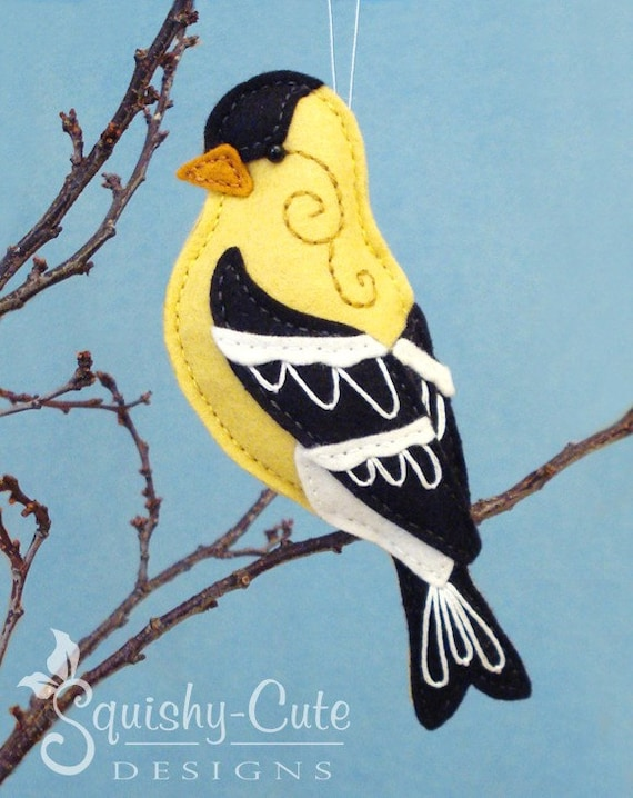 Goldfinch Sewing Pattern PDF - Backyard Bird Stuffed Ornament - Felt Plushie - Gordon the Goldfinch - Instant Download