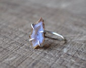 One of a Kind Geode Claw Ring in Sterling Silver - Size 6 Sterling Silver Geode Slice Ring