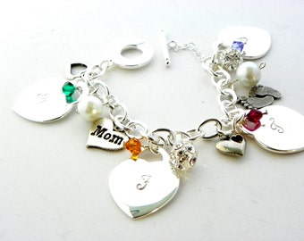 Perfect Gift for Mom, Personalized Gift for Mom from Daughter, Silver Mom Bracelet, Moms Gift with Kids Initials, Personalized Bracelet