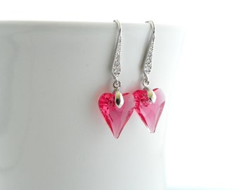 Dainty Earrings For Her, Gift for Wife from Husband, Gift for Mom from Daughter, Hot Pink Swarovski Crystal Earrings, Heart Earrings, Dangle