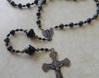 Catholic Rosary - Man's Rosary - Black - Shield - Antique Bronze - Camouflage - Military