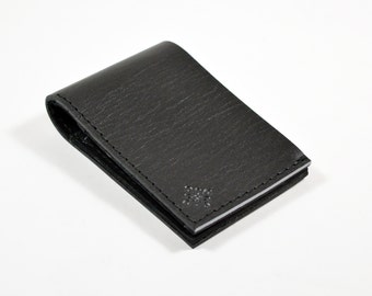 Black Leather Bi Fold Card Wallet Handmade With Grey Accent.