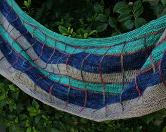 Green Blue Tan and Pink Yon Tartan Merino Wool Cashmere and Silk Rectangular Shawl or Scarf