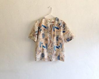 Vintage Shirt - 1980s Archeology Print Button Down Cotton Shirt
