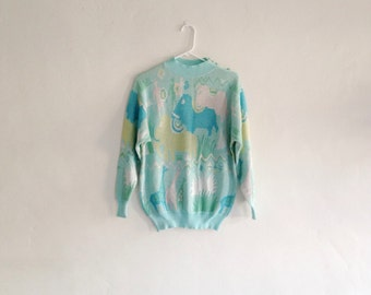 Amazing Vintage Shimmery African Animal Print 1980s Avant Garde Sweater