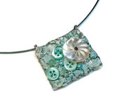 Wearable Art  Mint Green Necklace, Upcycled, Vintage Button, Repurposed Fabric Jewelry