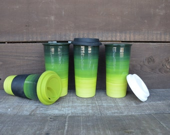 Green Ombre Large Ceramic Travel Mug with Silicone Lid - Bright Colorful Gradient Design - Pick Your Lid Color - Shades of Green