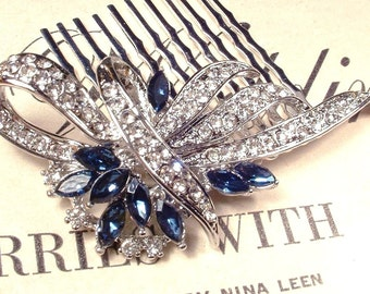 Wedding Hair Comb Something Blue, Sapphire & Clear Rhinestone Bridal Great Gatsby Art Deco Silver Brooch 1920s Accessory Navy Blue Headpiece