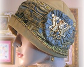 Antique Style 1920s Gatsby Flapper Downton Abbey Cloche Hat - Egyptian Revival - Vintage Metallic Trims - 20s Downton Egyptian style