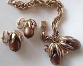 Napier Moonglow Lucite Cumquat Demi Parure – Earrings Bracelet