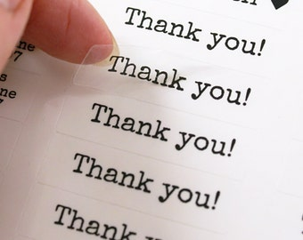 80 THANK YOU stickers - thank you clear labels - typewriter font - 1/2 x 1 3/4 inch - clear wedding labels, party favor stickers