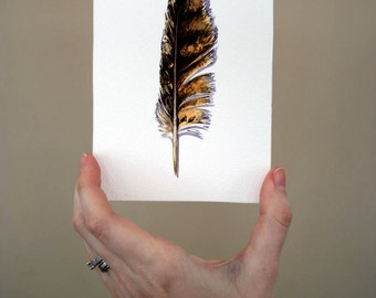 Great Horned Owl feather painting - Original Watercolor