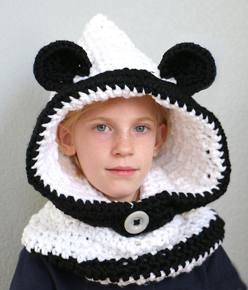 Teddy Bear Cowl Crochet Pattern Free : Panda Bear Hooded Cowl Hat Crocheted Panda Hood Bulky Bear