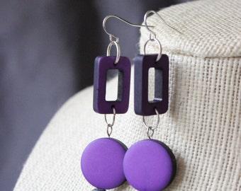 Purple Mod Square and Circle Dangled Earrings