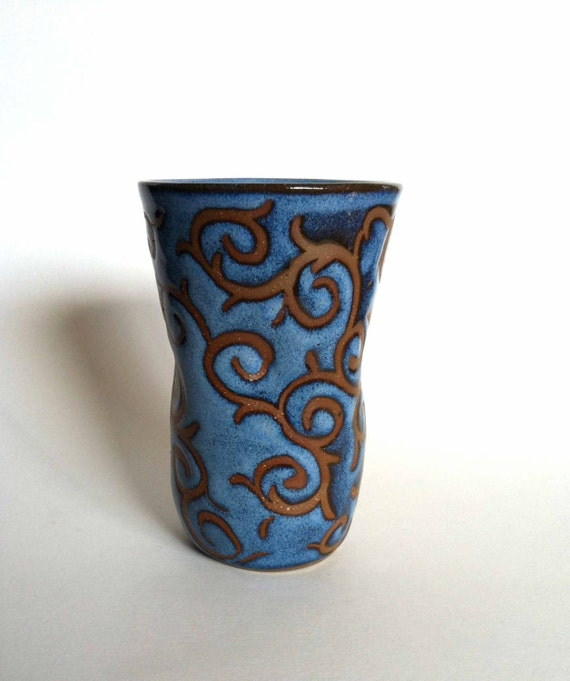 Handmade vibrant blue stoneware cup with by littlepotteryventure - Handleless coffee mugs ...