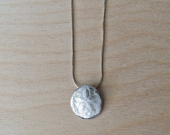 small silver sand dollar, silver sand dollar necklace, ready to ship, sanddollar pendant, shell jewelry, wedding, beach necklace