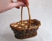Vintage Miniature Woven Wicker Basket, Small Scale Oval Basket with Handle, Miniature Easter Basket