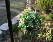 Bejeweled Ornament Vivid Green Goldtoned Emerald Art Piece OOAK Vintage Jewelry Rhinestones