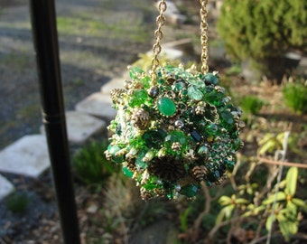 Bejeweled Ornament Vivid Green Goldtoned Emerald Art Piece OOAK Vintage Jewelry Rhinestones