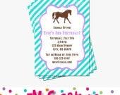 Pony Party Invitation - Horse Birthday Invitations - Cowgirl Birthday Party - Digital Printable Invitation - Girl Birthday Party Purple