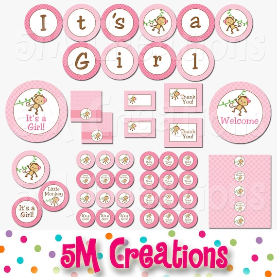 Monkey baby shower decorations it 39 s a girl baby shower - Baby shower monkey decorations for a girl ...