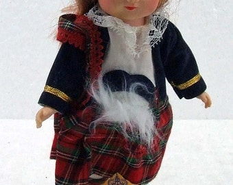 Vintage Soft Vinyl Plastic Collectors Collectible Scottish Girl Doll Scotland Open and Close Eyes ATCTTEAM