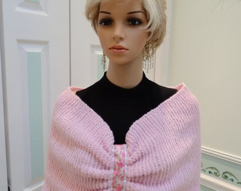 """READY TO SHIP: Pink knit, infinity shrug/wrap, Hand knitted, with floral pink rose ribbon, 15"""" by 40"""" stretchable yarn."""