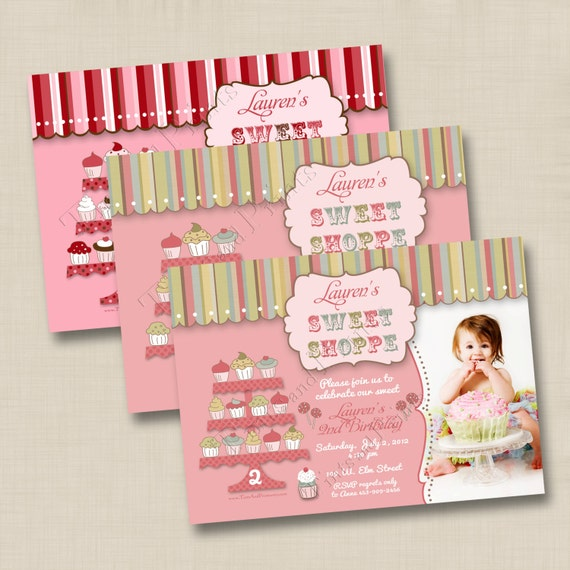 It's a Sweet Shoppe Custom Birthday Party Invitation Design with or without photo - any age