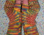Hand painted fingerless gloves with merino wool and cashmere