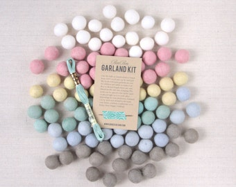 Felt Pom-Poms // Swan Lake // Felt Balls, Wool Felt Poms, DIY Garland Kit, Pastel Wool Felt Balls, Spring Craft, Easter Craft, Pastel Beads