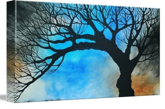 LE Deep Canvas Wrap Giclee Print of Original Painting Lapis Windsong Amber E. Lamoreaux Surreal Tree Silhouette Windy Blue Brown Watercolor