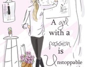 Wall Art for Women -A Girl with A Passion- Wall Art Print -  Digital Art Print -  Wall Art -- Print