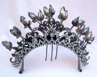 Vintage tiara hair comb Indonesian headdress headpiece belly dance tribal fusion hair accessory hair pin hair jewelry hair ornament(AAJ)