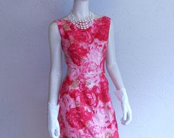 Springtime Tones of Pink - Vintage 1950s 1960s Rose Pink Bloom Cotton Dress w/Balloon Skirt - 2/4