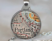 Portland, Oregon map pendant, Portland map necklace, Portland map pendant, map jewelry Portland keychain key chain