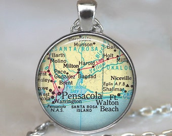 Pensacola map pendant, map jewelry, Florida map pendant, vintage map jewelry, Pensacola pendant, Eglin AFB key chain keychain
