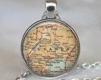 Uganda map pendant, Uganda map necklace resin pendant, adoption jewelry, Uganda pendant, adoption pendant keychain key chain