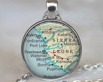 Sierra Leone map pendant, Sierra Leone vintage map jewelry, Sierra Leone map necklace, adoption pendant, keychain key chain