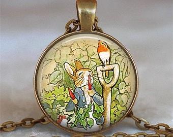 Peter Rabbit pendant, bunny pendant, bunny necklace, gardener's gift gardening gift keychain key chain Beatrix Potter pendant key fob