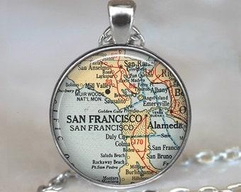 San Francisco map pendant, San Francisco pendant, San Francisco map necklace,  Alameda map, San Rafael map keychain key chain