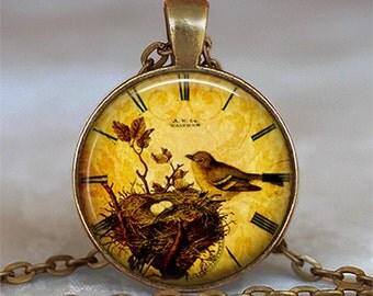Bird Nest Clock pendant, bird nest jewelry, bird nest necklace bird and clock pendant bird nest keychain bird nest key fob