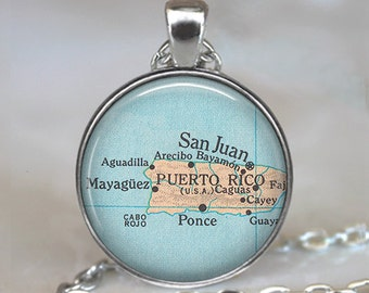 Puerto Rico map pendant, Puerto Rico necklace, Puerto Rico pendant, Puerto Rico jewelry, Puerto Rico keychain key fob