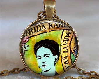Viva La Vida Frieda Kahlo necklace, Frieda necklace,  Frieda Kahlo pendant artist gift