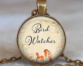 Bird Watcher pendant, bird jewelry, nature lover pendant, bird watcher necklace bird lover gift, bird watcher's gift keychain