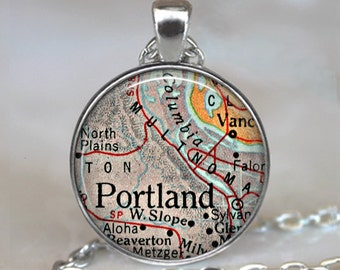 Portland, Oregon map pendant, Portland map necklace, Portland map pendant, map jewelry Portland keychain key chain