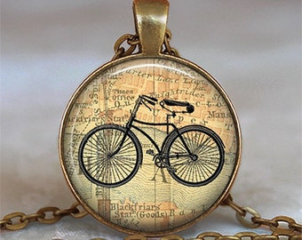 Vintage Bicycle & Map necklace, cyclist gift, bicycle jewelry, bicycle pendant, antique bicycle keychain bicycle key chain key fob key ring